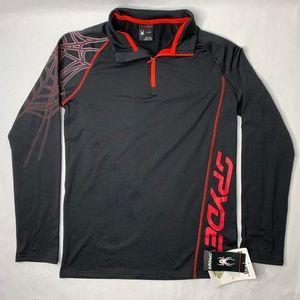 NWT Spyder Dryweb Boys Large 1/4 Zip Shirt Black